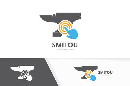 Vector smith and click logo combination. Blacksmith and cursor symbol or icon. Unique metal and digital logotype design template. Illustration