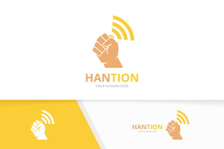 Vector fist and wifi logo combination. Hand and signal symbol or icon. Unique protest and radio logotype design template. Illustration