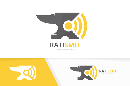 Vector smith and wifi logo combination. Blacksmith and signal symbol or icon. Unique metal and radio logotype design template.