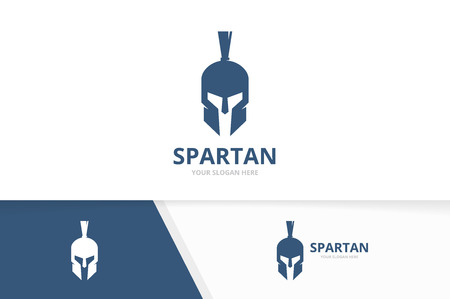 Vector spartan logo combination. Helmet symbol or icon. Unique warrior logotype design template.