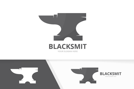 Vector smith logo combination. Blacksmith symbol or icon. Unique metal logotype design template. Çizim
