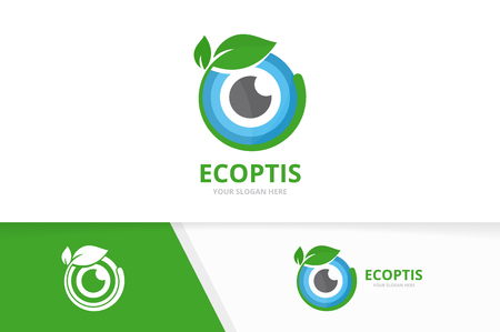 Vector eye and leaf  combination. Optic and plant symbol or icon. Unique vision and organic  design template.