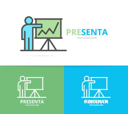 Simple teacher or man with presentation design template. Symbol and sign vector illustration Illustration