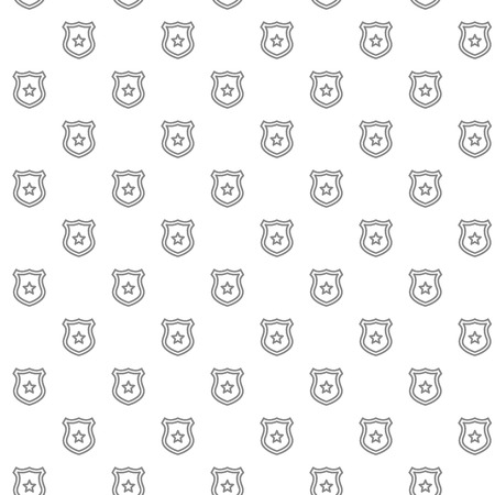 Simple police office badge seamless pattern with various icons and symbols on white background flat vector illustration