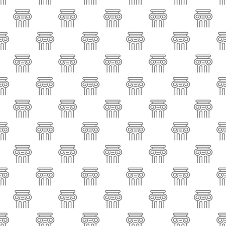 Simple ancient column seamless pattern with various icons and symbols on white background flat vector illustration Ilustração