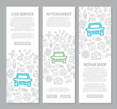 Set of vector car service and auto repair vertical banners with icon pattern. Vector illustration Stock Illustratie