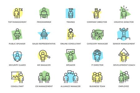 Satz von Vektor-Personal- und Geschäftsorganisationsmanagement-farbigen Liniensymbolen mit Titeln. Teamwork, Präsentation, Kundenbetreuung, B2B, Mitarbeiter suchen, SEO, Unternehmenssicherheit, Erfolg und mehr.