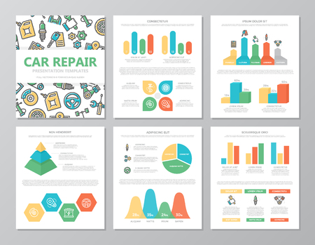 Set of colored car service and auto repair elements for multipurpose a4 presentation template slides with graphs and charts. Leaflet, corporate report, marketing, advertising, book cover design.
