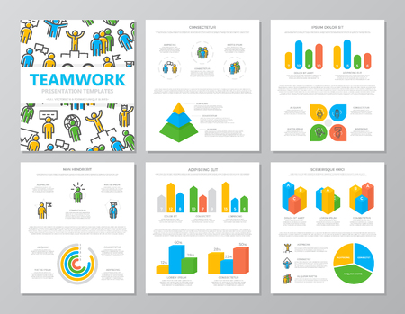 Set of colored human resources and business organization management elements for multipurpose a4 presentation template slides with graphs and charts. Leaflet, corporate report, marketing, advertising, book cover design.