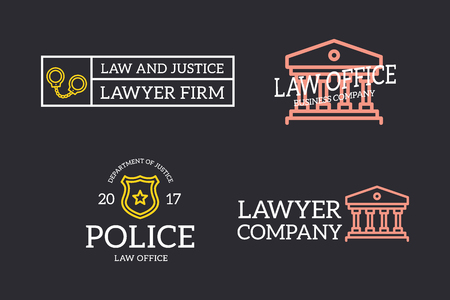 Set of retro vintage judge, sheriff star badge, handcuffs, column logo or insignia, emblems, labels and badges and other branding objects. Vector line style