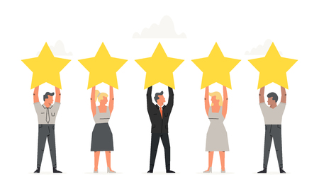 Office people holding the big Stars over their heads. Positive rating, quality work, feedback. Business illustration for presentations on white background Illustration