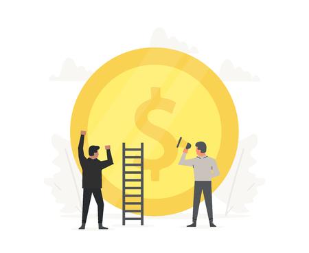 La gente dell'illustrazione di affari sta costruendo una moneta d'oro. Avviamento della tecnologia dell'innovazione. Successo, campione, vittoria, soldi.
