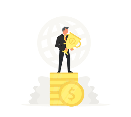 Successful and young businessman stand on coins and holding gold trophy. Success, champion, victory, money. Vector startup business illustration. Standard-Bild - 111652126