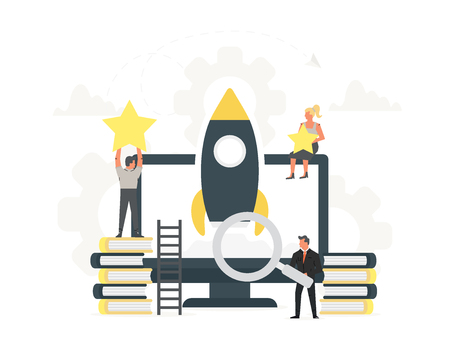 Rocket launch to the sky from the large computer up to the stars with small office people around it. Businessmen start their own new business. Startup concept and internet learning. Monitor with book, teaching, online finance, knowledge. Illustration