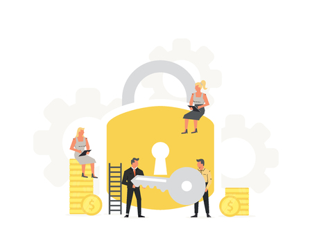 Businessmans hold a key from a large padlock in his hands. General Data Protection Regulation design illustration. Success and teamwork concept