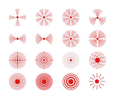 Conjunto de vector de icono de anillos rojos para ilustración de diseño médico. Círculo de dolor para marcar las partes dolorosas del cuerpo.