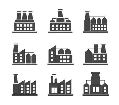 Vector set of factories related icons. Industrial building factory symbol and sign on white background