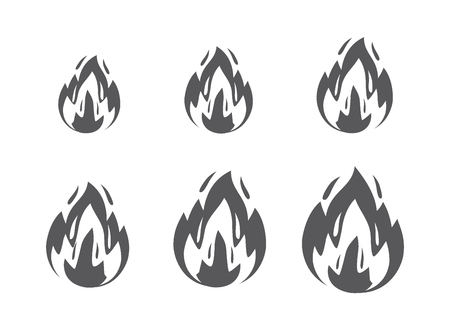 Vector fire sprites, flames symbol and sign illustration on white background. Bonfire, burning, explosion, torch, campfire