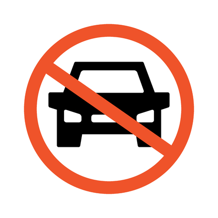 No cars. Road and traffic jam symbol and sign. Prohibiting thoroughfare for all motor vehicles.