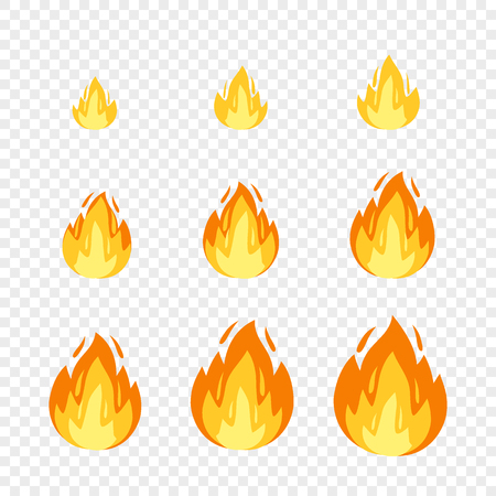 Vector fire illustration for animation frames. Use in game development, mobile games or motion graphic. Bonfire, burning, explosion, torch, campfire on transparent background