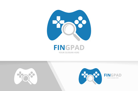 Vector joystick and loupe logo combination. Gamepad and magnifying symbol or icon. Unique console controller and search logotype design template. Illustration