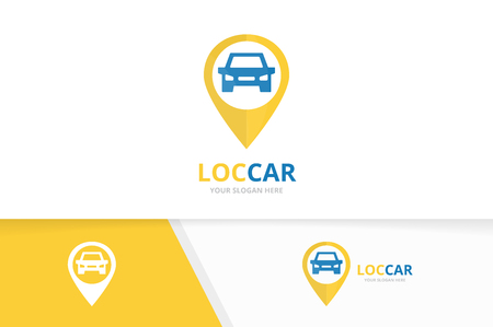Vector car and map pointer logo combination. Vehicle and gps locator symbol or icon. Unique automobile and pin logotype design template.