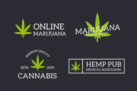 Set of retro vintage hemp, cannabis logo or insignia, emblems, labels and badges and other branding objects. Vector line style