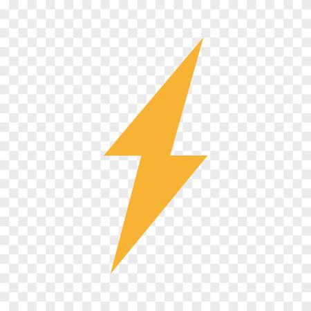 Vector lightning bolt, flash icon. Thunder symbol and sign illustration on transparent background
