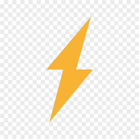 Vector lightning bolt, flash icon. Thunder symbol and sign illustration on transparent background