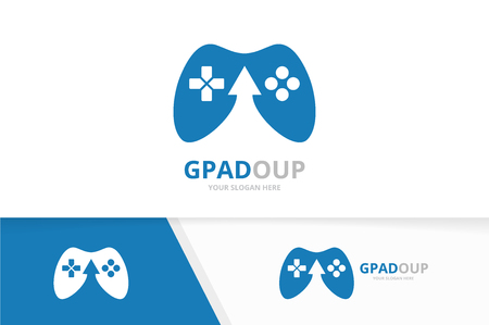 Vector joystick and arrow up logo combination. Gamepad and growth symbol or icon. Unique console controller and upload logotype design template.