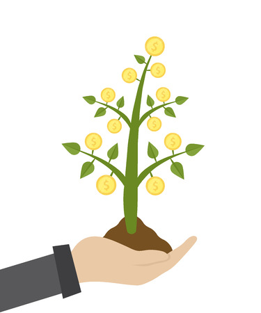 Vector illustration of businessman hold money tree in hand. Green plant with coins growing out of a handful of ground. Successful business concept presentations on white background.
