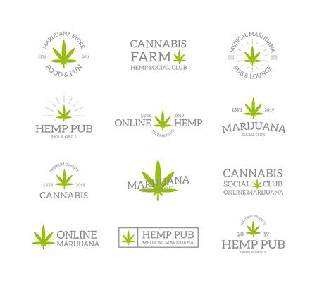 Ensemble de feuilles de marijuana vintage rétro, de chanvre, de logo ou d'insigne de cannabis, d'emblèmes, d'étiquettes et de badges et d'autres objets de marque. Style de ligne de vecteur Logo