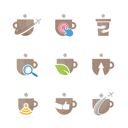 Set of coffee logo combination. Drink and tea symbol or icon. Unique organic cup and mug logotype design template.