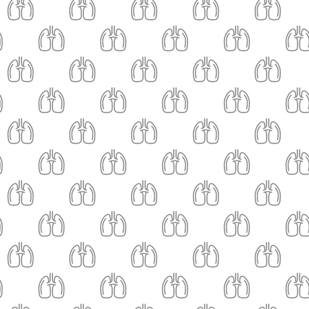 Unique lungs seamless pattern with various icons and symbols on white background flat illustration