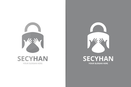 Vector lock and hands logo combination. Safe and embrace symbol or icon. Unique padlock and team, friendship logotype design template. Ilustração