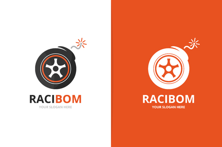 Vector wheel and bomb logo combination. Tire and detonate symbol or icon. Unique tyre and weapon logotype design template. Vettoriali
