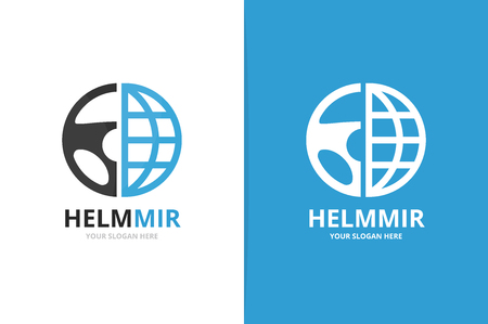 Vector car helm and planet logo combination. Steering wheel and world symbol or icon. Unique rudder and globe logotype design template. 版權商用圖片