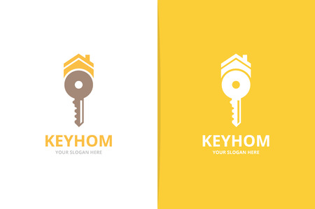 Vector key and real estate logo combination. Lock and house symbol or icon. Unique house and rent logotype design template.