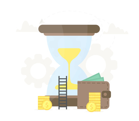 Big hourglass with wallet and coins near it. Investment, saving money, time management business illustration. 向量圖像