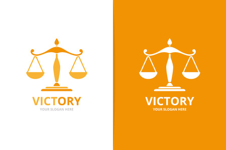Vector libra logo combination. Scales symbol or icon. Unique law logotype design template.