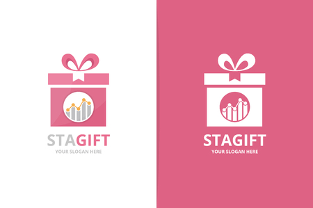 Vector graph and gift logo combination. Diagram and present symbol or icon. Unique chart and surprise logotype design template.  イラスト・ベクター素材