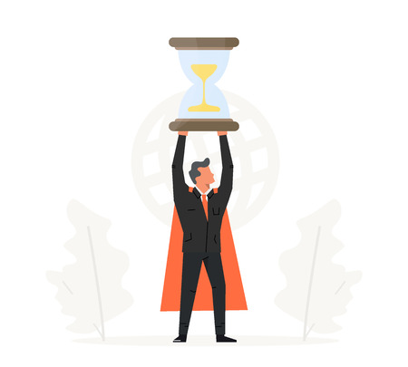 Businessman hold hourglass over his head. Business time management illustration. Success, champion, victory, sandglass