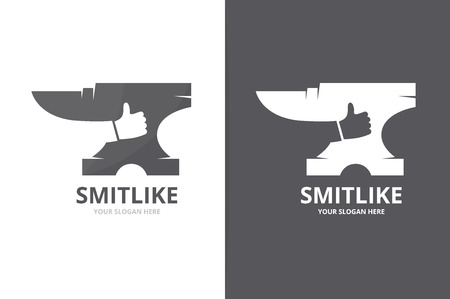 Vector smith and like logo combination. Blacksmith and best symbol or icon. Unique metal and choice logotype design template. Ilustração