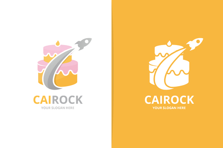 Vector cake and rocket logo combination. Pie and airplane symbol or icon. Unique cupcake and flight logotype design template. 矢量图像