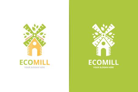 Combinaison de logo vectoriel moulin et feuille. Symbole ou icône de ferme et éco. Moulin à vent unique et modèle de conception de logotype organique. Logo