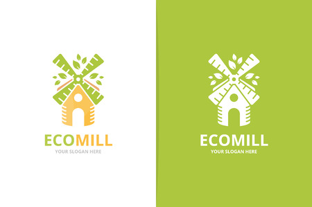 Vector mill and leaf logo combination. Farm and eco symbol or icon. Unique windmill and organic logotype design template.  イラスト・ベクター素材