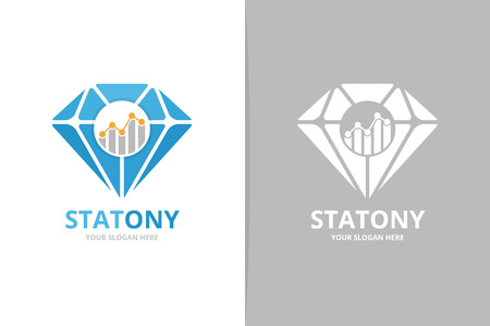 Vector diamond and graph logo combination. Jewelry and diagram symbol or icon. Unique gem and chart logotype design template.