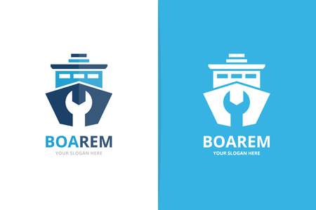 Vector ship and repair logo combination. Boat and fix symbol or icon. Unique yacht and service logotype design template. Ilustrace