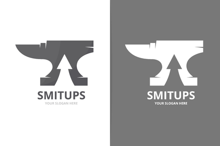 Vector smith and arrow up logo combination. Blacksmith and growth symbol or icon. Unique metal and upload logotype design template. Vettoriali