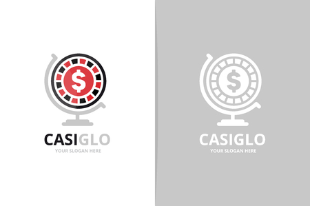 Vector casino and globe logo combination. Chip planet symbol or icon. Unique roulette game logotype design template.